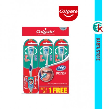 Colgate 360 Whole Mouth Clean Toothbrush Medium Valuepack 3 Units