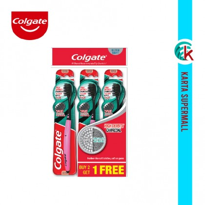 Colgate High Definition Charcoal Toothbrush Ultra Soft Valuepack 3 Units