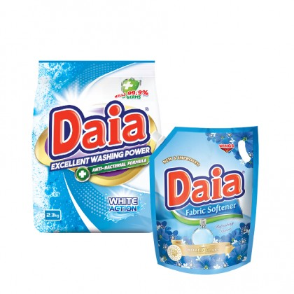 Daia Powder Detergent White Action with Anti-Bacterial 2.3kg Pouch x 1 + Daia Fabric Softener Refreshing Nature 1.8L Pouch x 1