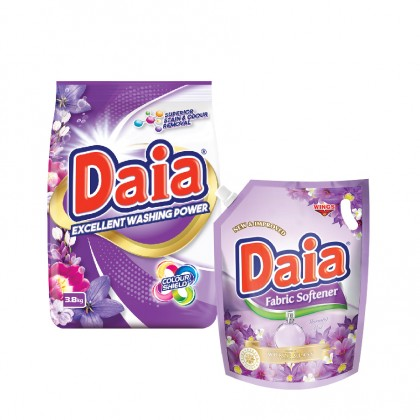 Daia Powder Detergent Colour Shield 2.3kg Pouch x 1 + Daia Fabric Softener Morning Mist 1.8L Pouch x 1